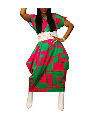 cheap -Women's Plus Size Dress Loose Maxi long Dress Short Sleeve Print Casual / Daily Spring Summer geometry Green L XL 2XL 3XL 4XL