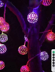 cheap -LED String Lights Remote Control 3M 20LEDs Wrought Iron Hollow String Light Waterproof Battery Box or USB Operation Ball Fairy Lights Christmas Wedding Party Garden Holiday Decoration