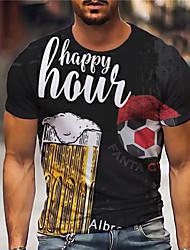 cheap -Men's Unisex Tee T shirt Shirt 3D Print Graphic Prints Beer Soccer Football player Print Short Sleeve Daily Tops Casual Designer Big and Tall Black / Summer