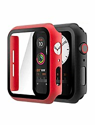 cheap -zuslab compatible with apple watch series 6/5 /4 /se 40mm case with screen protector accessories slim guard thin bumper full coverage matte hard cover defense edge for women men - red