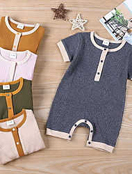 cheap -Baby Girls' Active Solid Colored Print Short Sleeves Romper Purple Khaki Green