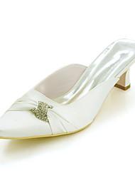 cheap -Women's Wedding Shoes Block Heel Square Toe Satin Rhinestone Solid Colored White Red Fuchsia