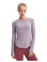 cheap -Women's Baselayer Top Breathability Summer Polyester Jogging Black Pink Grey / Long Sleeve / Stretchy / Patchwork