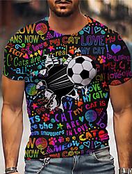 cheap -Men's Tee T shirt Shirt 3D Print Graphic Prints Football Soccer Football player Print Short Sleeve Daily Regular Fit Tops Casual Designer Big and Tall Rainbow / Summer