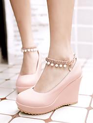 cheap -Women's Heels Wedge Heel Round Toe PU Synthetics White Black Pink