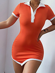 cheap -Women's A Line Dress Short Mini Dress Maximum code weight: 0.18kg Cotton 70% Polyester 30% Fabric: Direct tribute Orange White Short Sleeve Solid Color Spring Summer Casual / Daily 2021 S M L
