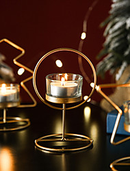 cheap -Candleholder Incense Candle Cup Home Bedroom Living Room Christmas Gift Decoration Iron Gold Glass Candlestick