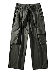 cheap -Men's Stylish Chinese Style Casual / Sporty Streetwear Breathable Soft Outdoor Harem Pants Trousers Loose Casual Daily Sports Pants Solid Color Full Length Wide Leg Drawstring Pocket Elastic Waist