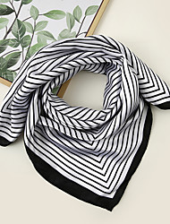 cheap -Women's Square Scarf Festival Black and White Scarf Striped / Color Block / Polyester