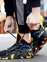 cheap -Men's Trainers Athletic Shoes Lace up Outdoor Basketball Shoes Mesh Breathable Black / Red Yellow Blue Color Block Summer