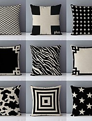 cheap -Black White Double Side Cushion Cover 1PC Soft Throw Pillow Cover Cushion Case Pillowcase for Sofa Bedroom Livingroom Superior Quality Machine Washable  Outdoor Cushion for Sofa Couch Bed Chair