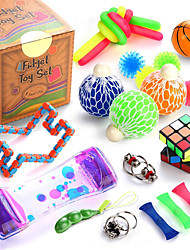 cheap -Sensory Fidget Toys Set, 25 Pcs., Stress Relief and Anti-Anxiety Tools Bundle for Kids and Adults, Marble and Mesh, Pack of Squeeze Balls, Soybean Squeeze, Flippy Chain, Liquid Motion Timer & More