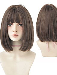 cheap -Black Short Bob Wig for Girl Daily Wear Synthetic Wig New Style Natural Supple Summer Heatresistant Wig With Bangs