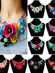 cheap -Crystal Jewelry Set Braided Weave Flower Shape Clover Statement European Oversized Resin Alloy Rainbow 48 cm Necklace Jewelry 1pc For Wedding Gift Prom Birthday Party