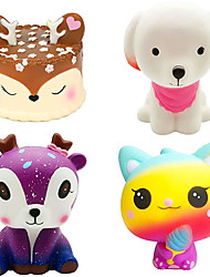 cheap -3 Pcs Jumbo Squishies Slow Rising Toys Kawaii Deer CakePink DogGalaxy DeerIce Cream Cat Squishys Pack for Kids Stress Toy and Party Favors