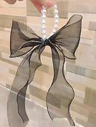 cheap -Women's Long Bow Pearl Hair Band Ribbon Ins Temperament Hair Band Bracelet Dual Use
