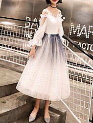 cheap -A-Line Minimalist Gradient Homecoming Cocktail Party Dress Spaghetti Strap 3/4 Length Sleeve Tea Length Tulle with Sequin 2021