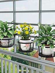 cheap -3PCS Outdoor Hanging Basket Plant Iron Racks Garden Supplies Fence Balcony Round Flower Pot Home Decoration