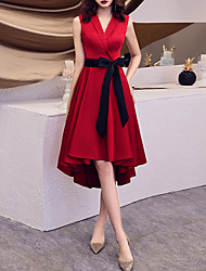 cheap -A-Line Minimalist Elegant Homecoming Party Wear Dress V Neck Sleeveless Asymmetrical Satin with Sash / Ribbon 2021