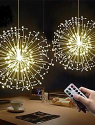 cheap -LED String Light 2pcs 180 LED Firework String Lights 8 Mode Explosion Star Copper Silver Wire Fairy Light 150 leds 120LEDs Decoration Lamp Remote Control String Light