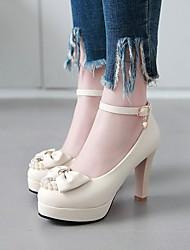 cheap -Women's Heels Chunky Heel Round Toe PU Synthetics White Black Pink