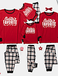 cheap -Family Look Christmas Red Daily Plaid Letter Print Long Sleeve Pajamas