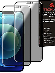 cheap -techgear 2 pieces antispy privacy tempered glass for iphone 12, iphone 12 pro -full screen privacy 3d touch privacy screen with full cover tempered glass compatible with iphone 12/12 pro (6.1)