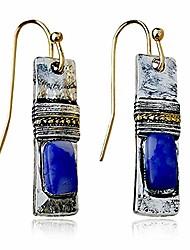 cheap -d.rosse unique handmade bohemian enamel vintage matt silver bar dangle earrings chic round blue gemstone geometric square drop earrings for women statement jewelry (silver)