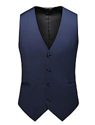 cheap -Men's Vest Plaid / Color Block / Geometric Regular Fit Acrylic / Cotton / Polyester Men's Suit Rainbow - V Neck