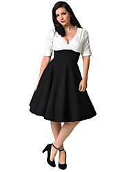 cheap -A-Line Reformation Amante Minimalist Homecoming Party Wear Dress V Neck Half Sleeve Knee Length Spandex Cotton with Sleek 2021