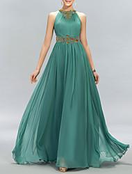 cheap -A-Line Minimalist Sparkle Wedding Guest Formal Evening Dress Halter Neck Sleeveless Floor Length Chiffon with Pleats Crystals 2021