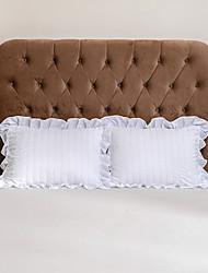 cheap -2 Pack 50*75cm Pillowcases/Pillow Shams Edge Ruffles Plain/Solid Striped White Gray