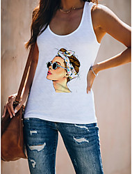 cheap -Women's Portrait Tank Top Vest Abstract 3D Portrait Print U Neck Basic Streetwear Tops Cotton White Black Light gray