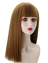 """cheap -meiriyfa 18"""" brown long straight wig with air bangs for women girls, fashion long synthetic hairpieces full wig for cosplay party daily wear"""