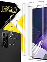cheap -[2+2 pack] bazo tpu soft screen protector + camera lens protector tempered glass compatible for samsung galaxy note 20 ultra (6.9 inch) 5g / 4g with true touch,[anti-scratch] hd [cases friendly]