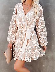 cheap -Women's A Line Dress Knee Length Dress Apricot Long Sleeve Print Spring Summer Casual / Daily 2021 S M L XL