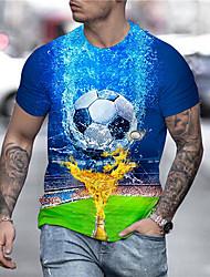 cheap -Men's Unisex Tee T shirt Shirt 3D Print Graphic Prints Football Soccer Football player Print Short Sleeve Daily Tops Casual Designer Big and Tall Blue / Summer