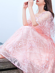 cheap -A-Line Minimalist Elegant Homecoming Wedding Guest Dress Jewel Neck Half Sleeve Tea Length Tulle with Embroidery Appliques 2021
