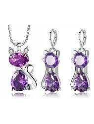 cheap -two-piece cat earrings necklace jewelry set simple zircon jewelry set