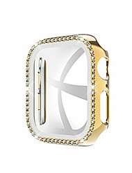 cheap -tempered glass screen protector case bling crystal diamonds face cover shiny rhinestone overall bumper guard compatible with 42mm apple watch series 3/2/1, gold
