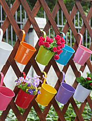 cheap -Wall Hanging Metal Flower Pots Colorful Flower Holder Balcony Hanging Pot With Detachable Hook Window Garden Fence Supplies