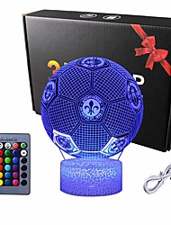 cheap -LED 3D Night Lights Euro Cup Football Light for Kids 3D Illusion Football Lights 16 LED Remote Color Changing Touch Table Desk Lamps Decor Cool Gift Birthday Xmas Gifts Sports Theme Fans