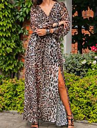 cheap -Women's Shift Dress Maxi long Dress Leopard Long Sleeve Leopard Print Spring Summer Casual 2021 S M L XL XXL XXXL / Chiffon