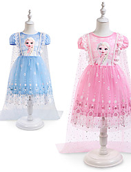 cheap -Princess Elsa Cosplay Costume Costume Girls' Movie Cosplay Vintage Halloween Blue Pink Dress Christmas Halloween Children's Day Polyester / Cotton