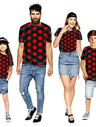 cheap -Family Look Red Active Graphic Optical Illusion Print Short Sleeve Family Sets