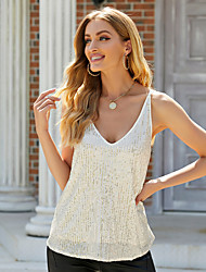 cheap -Women's Holiday Camisole Blouse Tank Top Plain Backless Sequins Criss Cross V Neck Basic Streetwear Tops Cotton Beige