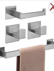 cheap -Bathroom Accessory Set / Toilet Paper Holder / Robe Hook New Design / Self-adhesive / Creative Contemporary / Modern Stainless Steel / Low-carbon Steel / Metal 5pcs / 4pcs / 2pcs Wall Mounted