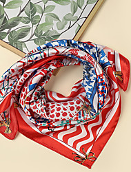 cheap -Women's Square Scarf Holiday Multi-color Scarf Graphic / Color Block / Polyester