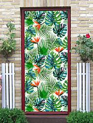 "cheap -2pcs Self-adhesive Creative Door Stickers Fresh Leaves Living Room Diy Decorative Home Waterproof Wall Stickers 30.3""x78.7""(77x200cm), 2 PCS Set"
