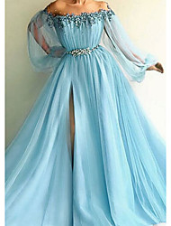 cheap -A-Line Elegant Formal Evening Dress Off Shoulder Long Sleeve Sweep / Brush Train Tulle with Beading Appliques Split Front 2021